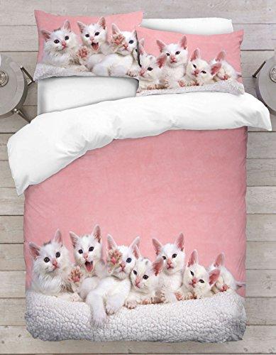 Adam Home 3D Digital Printing Bett Leinen Bettwäsche-Set Bettbezug + 2x Kissenbezug - Little Kitten On Pink Background (Alle Größen)