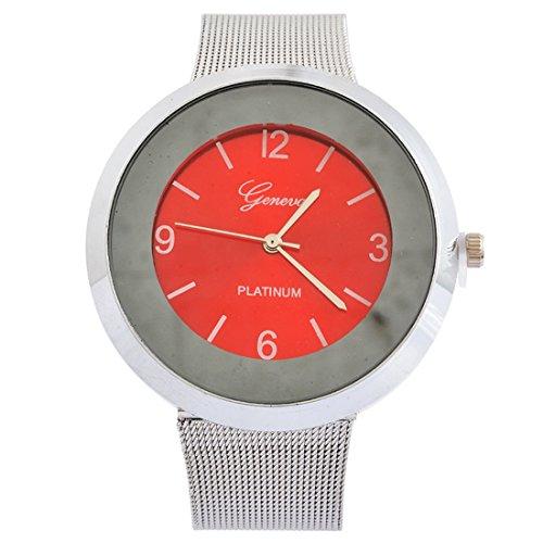 Souarts Damen Armbanduhr Schüler Quarz Deko Uhr mit Batterie Charm Geschenk Rot