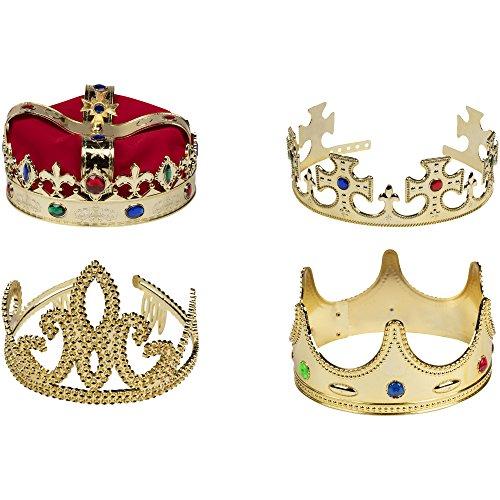 Blue Panda Goldkrone - 4 Stück Königskönig und Königin Juwelierkostümzubehör - Traditionelle Kostüm Dress Up Spiel