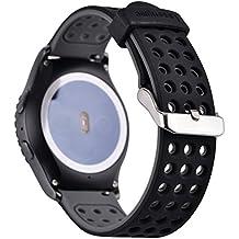 Greatfine 20MM Reemplazo liberación rápida Correa de reloj silicona hebilla pulsera para Garmin Vivomove Sport / Garmin Vivomove Classic/Samsung Gear S2 Classic SM-R732 / SM-R7320, Motorola Moto 360 2nd Generacion 42mm for men / Huawei Watch 2 (BlackGrey)