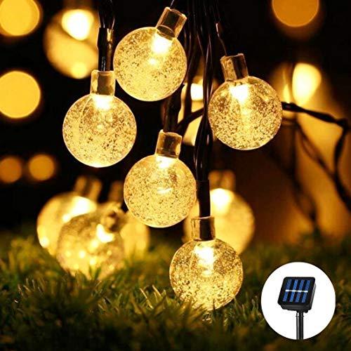 Fantasee Solar-Lichterkette, 30 LEDs, wasserdicht, Wassertropfen, für den Außenbereich, Garten, Terrasse, Garten, Weihnachten, Party, Dekoration 30LED - 21FT Bubble Ball - Warm White