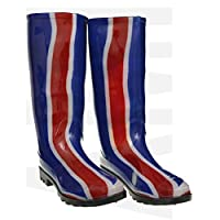 P376# BLUE WITH RED & WHITE STRIPES FUNKY WOMENS LADIES GIRLS WELLIES WELLIE BOOTS RAIN SNOW SIZES 3, 4, 5, 6.5 & 7 BESTIVAL, READING & V FESTIVAL *UK SELLER*