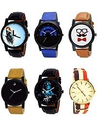 NIKOLA Modish 3D Design Mahadev Beard Style Black Blue And Brown Color 6 Watch Combo (B22-B47-B53-B59-B23-B50)...
