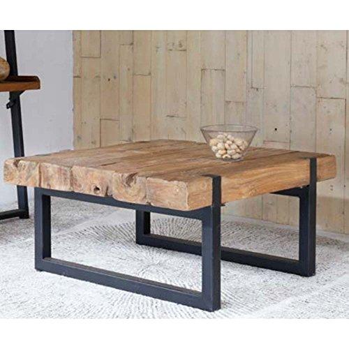 Table Basse Teck et métal recyclés carrée 70x70cm