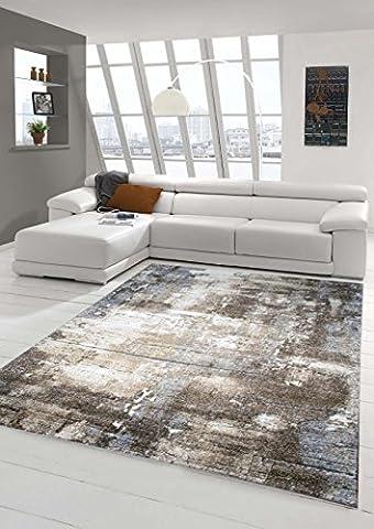 Designer Tapis zone Tapis contemporain optique mur de pierre tapis de style baroque dans Brown Beige Gris Heather Cream Größe 200 x 290 cm