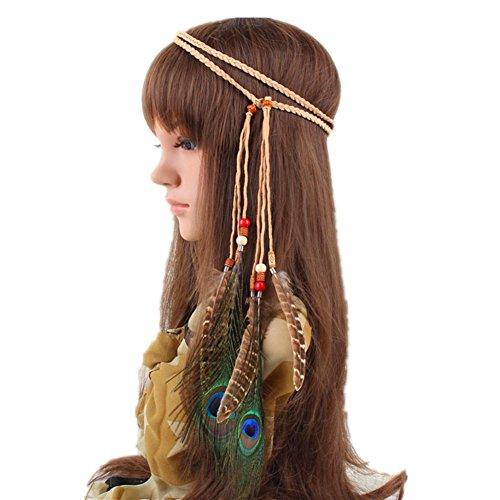 Indischer Feder-Kopfschmuck, Halskette, Taillenband, mit Pfauenfedern, Hippie-Haarband, Boho-Kopfbedeckung, für Karneval, Kopfschmuck, Haarschmuck, Maskeraden-Kostüm für Party, Festival
