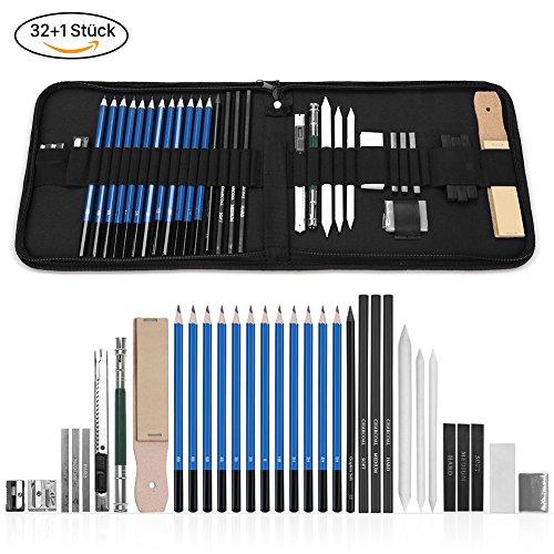 GHB 33 Stück Bleistifte Skizzierstifte Set Skizzieren und Zeichnen Professionelle Art Set mit Graphitkohlestifte Sticks Werkzeuge und Kit Bag Test