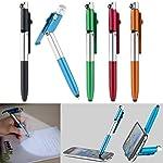 PEARL Kugelschreiber mit Licht: 4in1-Kugelschreiber mit LED-Lampe, Touchpen und Handy-Ständer, 5er-Set (Kugelschreiber mit Taschenlampe)
