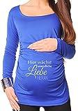 blau, unendliche Liebe, 36, Umstands T-shirt / Schwangerschafts T-shirt bellytime, bedrucktes Shirt für die werdende Mutter, tolles Geschenk, witzig, liebevoll