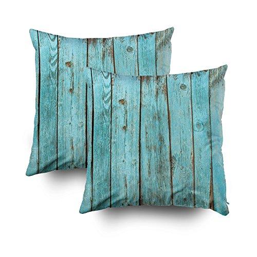 Capsceoll - 2 Fundas de Almohada Decorativas de Madera de Turquesa para Decoración del hogar, 40 x 40 cm, con Cremallera, para sofá o sofá con Palabras