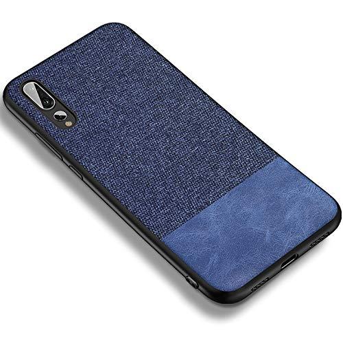DolDer Huawei P20 Pro Schutzhülle Case Tasche Bumper aus Stoff in Leinen-Optik und Soft TPU (Blau)