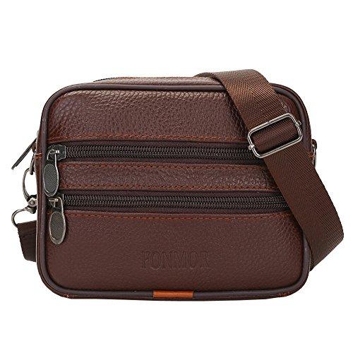 0224cdfc22 ♬LILICAT Vintage hommes cuir pur couleur commerce sacs à bandoulière sac à bandoulière  sac de