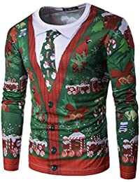 YCHENG Mode T-Shirt Homme Slim Fit Manches Longues Renne Elfe Noël Fantaisie Tops