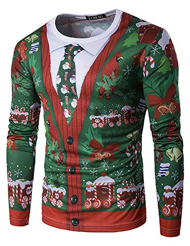 YCHENG Moda Camiseta Manga Larga Hombre Navidad Floral Impresión Casual Sudadera Tops Verde M