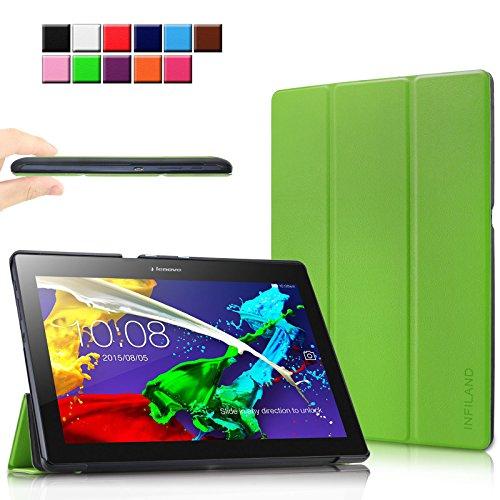 Infiland Lenovo Tab 10 / TAB2 A10-30 Hülle, Ultra Dünn Tri-Fold Smart-Muschel Schutzhülle Tasche mit Auto Sleep/Wake Funktion für Lenovo Tab 3 10 Plus/Tab 3 10 Business 10,1 Zoll Tablet, Grün
