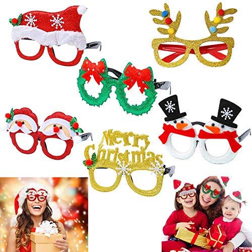 Dusenly Neuheit Weihnachten Brille - 6er Pack Weihnachten Glitter Party Brille Kreative Lustige Brillen Urlaub Kostüm Party Supplies Dekoration für Kinder und (Kreative Kostüm Für Erwachsene)