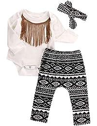 Ularma Las borlas de las muchachas del bebé mameluco + diadema + pantalones Trajes conjunto