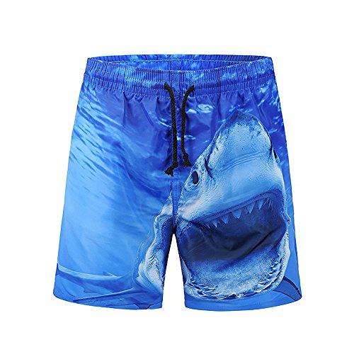 FRAUIT Herren 3D Shark Printed Strand Shorts Ausverkauf Herren Shorts Badehose Schnell Trocknend Strand Surfen Laufen Schwimmen Wasser Hosen -