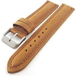 Tan / Light Brown Suede Leather Padded Watch Strap Band 18mm