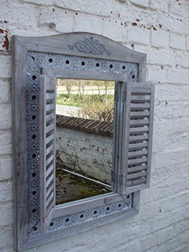 Großer, traumhafter Wandspiegel, Fensterläden, Landhausstil, grau, 73 x 55 cm