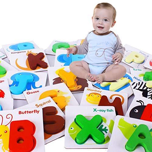 hahuha Toy  Dekompressionsspielzeug, Hölzerne Puzzle Englisch Alphabet Anzahl Karten Baby Lerntier Kinder Spielzeug Geschenke (Puzzles Und Drachen-geschenk-karte)
