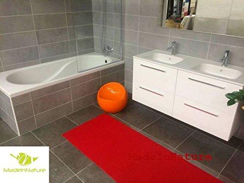 Mohn Roten Teppich (Antirutschmatte Badematte Küchenmatte Küchenteppich / Abmessungen und Farbwahl / Multi-Use-Teppich / MadeInNature (65x080cm, Mohn rot))