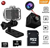 FabQuaity Wasserdichte Mini Nachtsicht Kamera SQ 12 HD-BONUS 16-GB-SD-Karte, Sport Action Kamera Camcorder 1080P DV Video Recorder Infrarot Auto DVR Kamera Motion Detection für Fahrrad Ski Tauchen etc Mini kamera