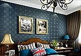 Pmhhc Dunkelblaue Karierte Tapete Britischen Stil Wohnzimmer American Retro Mediterranen Schlafzimmer 3D Wallpaper