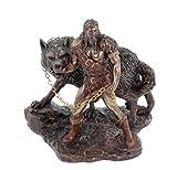 Veronese Figur Germanischer Gott Tyr fängt Fenriswolf bronziert Odin