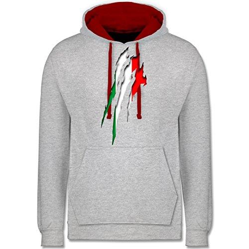 Länder - Italien Krallenspuren - Kontrast Hoodie Grau Meliert/Rot