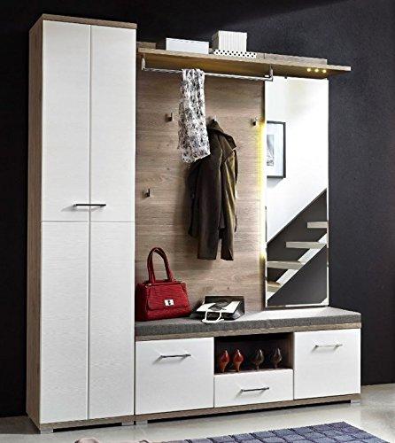 Victoria 4 Kompaktgarderobe Garderoben Set Komplettgarderobe WeißSilbereiche