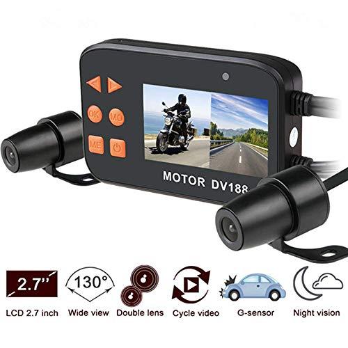 Motorrad Aufnahmekamera, Motorrad Dash Cam,1080p HD 130 ° Weitwinkel-Dual Lens Front & Rear Motorrad-Videorekorder mit Nachtsicht Digitale Nacht Vision Webcam