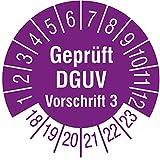 TE-Office 500 Stück Prüfaufkleber Prüfplaketten 18-23 Geprüft DGUV Vorschrift 3 violett Rolle 1-bahnig 30 mm Durchmesser laminiert abriebfest