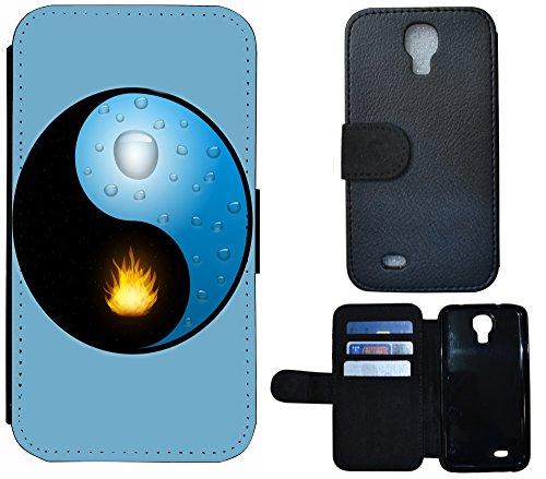 FioMi-Protect Schutz Hülle Flip Cover Handy Tasche Etui Case für (Samsung Galaxy S4 / S4 Neo, 1088 Ying und Yang Blau Gelb Schwarz)