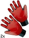 HOMETOOLS.EU® - Fell-Pflege Fussel Handschuh   Hunde, Katzen-Haare   Lang-Haar Unter-Fell Fussel-Handschuhe mit Noppen   links & rechts, 2er SET