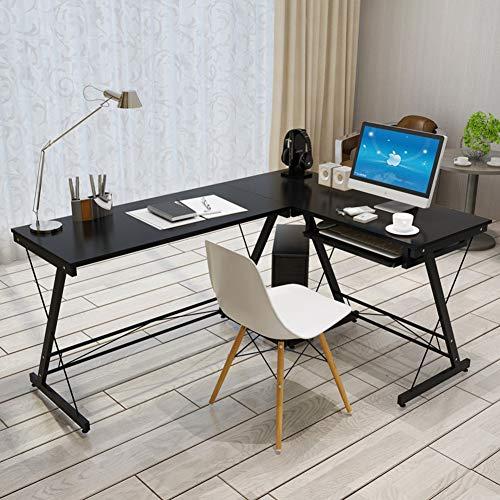 DDGOD L förmige- Computertisch Home Office Ecke Computerschreibtisch Holz top Pc-Laptop-Tisch Arbeitstisch Schreibtisch Workstation-B -