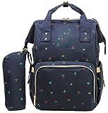 Ghlee Oxford Tuch Wasserdichte Wickeltasche Windel Tasche Multifunktions Reise Rucksack mit Schultergurt Universal Befestigung für Kinderwagen für Mama, blau