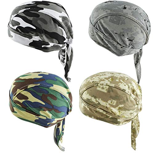 GUIFIER Bandana Cycling Hat Pirate Hat Man, Anti-UV Bandana Bandana Sports Running, Bicycle, Motorcycle or Handkerchief for Men and Women use under the helmet (Camouflage)