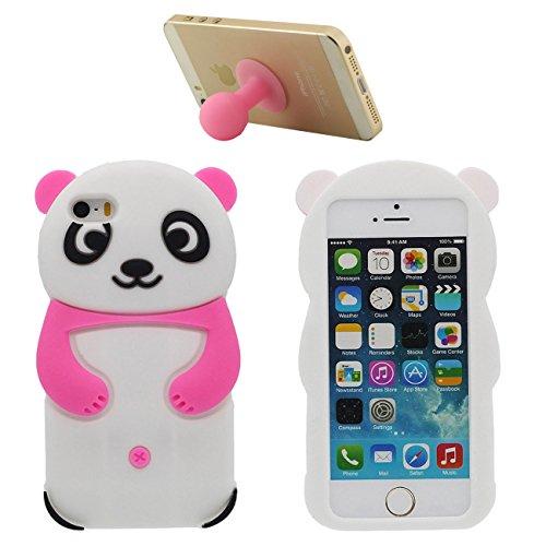 Für iPhone SE 3D Schön Tier Panda Gestalten Mode Weich Silikon Hülle Case Schutzhülle Für Apple iPhone 5 5S SE 5G mit 1 Silikon Halter rosa