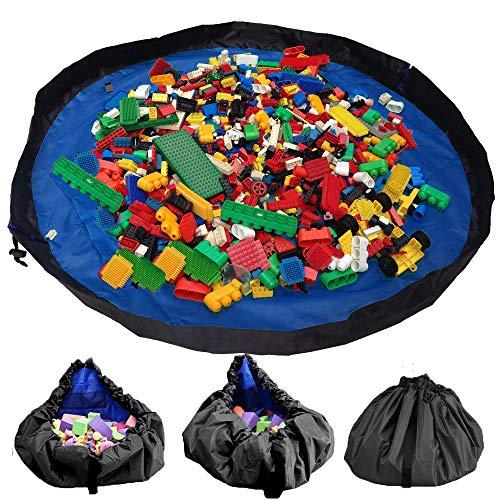 W&P Kinder Aufräumsack Baby Spielzeug Aufbewahrung Spielmatte mit Tragegriff Spieldecke Speicher Tasche Kinderspielzeug-Aufbewahrungsbeutel(150cm Dunkelblau)