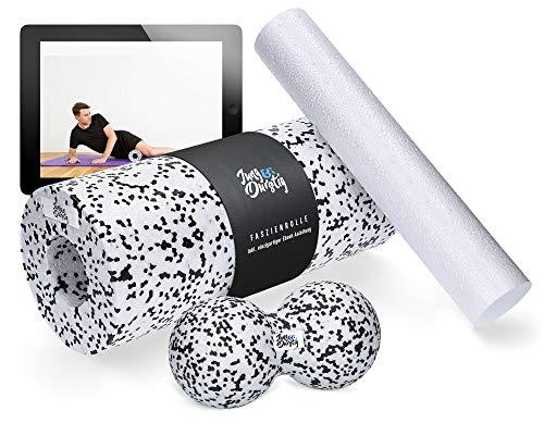 Jung & Durstig Original Faszienrollen Komplett Set | 2in1 Faszienrolle für Beine, Rücken und Wirbelsäule | Massagerolle Duoball Handroller inklusive E-Book zur Selbstmassage