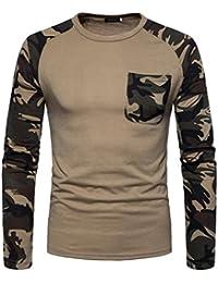 87adbed054d543 ITISME TOPS Mode Herren Casual Camouflage Print O-Ausschnitt Pullover Lange  T-Shirt Top