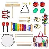 YISSVIC Instrument de Musique Bébe, 19Pcs Instrument de Musique pour Enfants Set de Xylophone avec Sac de Transport pour Enfant 3 Ans+