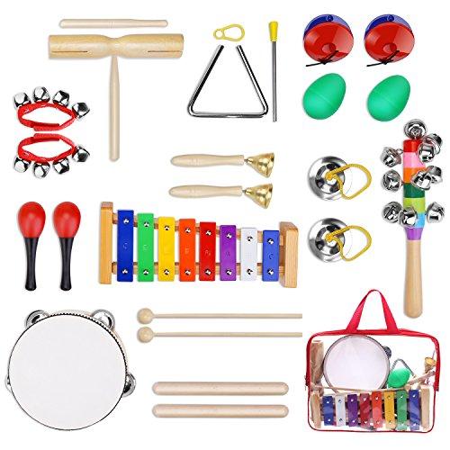Yissvic 12PCS Musikinstrumente Musical Instruments Set Spielzeug von Holz Percussion Schlagzeug Schlagwerk Rhythmus Band Werkzeuge für Kinder und Baby ( Verpackung MEHRWEG) (Musikinstrumente Mini Spielzeug)