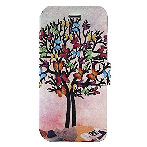 Lonchee Huawei Honor 5X Wallet Case, Stylish PU Leather Folio Flip Cover Protective Case With Credit Card Holder for Huawei Honor 5X - Butterfly tree