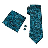 Hi-Tie Paisley corbata pañuelo gemelos Jacquard tejido de seda corbata Verde verde