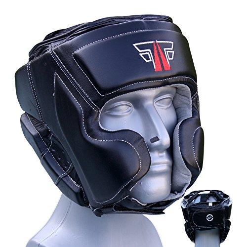 MMA Kopfschutz Echtes Leder Boxen Muay Thai Kikboxen Kopfschoner FOX-FIGHT Abbildung 2