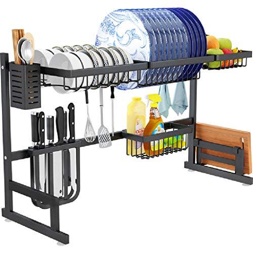 Bastidores de fregadero Acero inoxidable - Soporte de secado de platos Desagüe de la cocina Estante de almacenamiento Utensilios para estantes (Negro)
