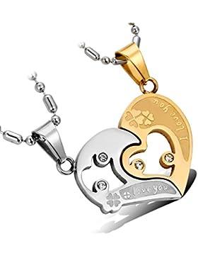 cupimatch Schmuck 2Edelstahl glänzend Strass Love Herz Passende Paare Anhänger Halskette für Valentinstag Geschenke