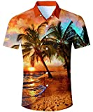 TUONROAD Camicia Hawaiana Uomo Funky Fantasia Hawaii Palma 3D Stampa Oro Camicia Slim Fit Manica Corta Camicia da Spiaggia Bottone Estivo Casual Shirt - L